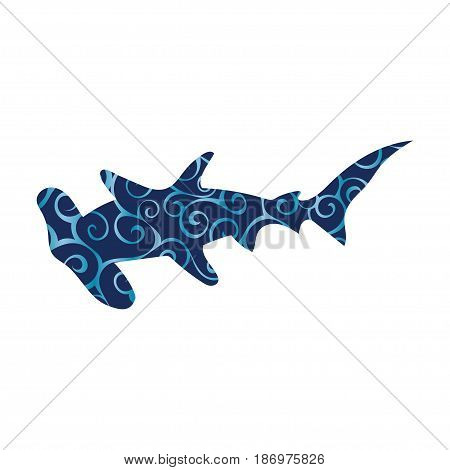 Shark hammerhead predator nautical color silhouette animal. Vector Illustrator.