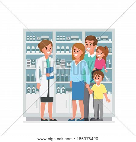 Pharmacist and family customers in drugstore. Vector illustration.
