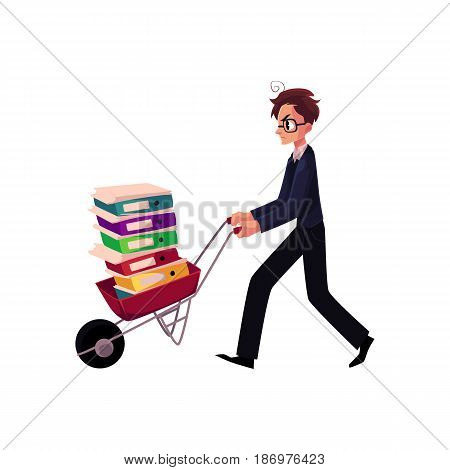 Young worried man, businessman in glasses pushing wheelbarrow full of document folders, cartoon vector illustration isolated on white background. Nervous businessman pushing wheelbarrow with folders