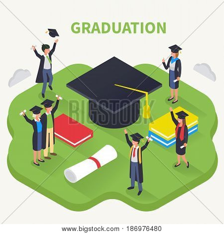 Graduation concept in isometric style with students characters. Vector illustration.