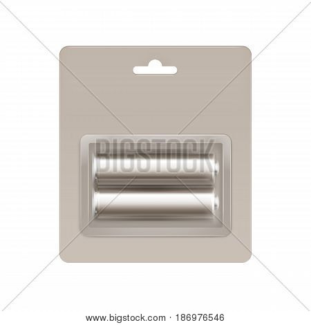 Vector Gray Beige Glossy Alkaline AA Batteries in Gray Beige Blister Packed for branding Close up Isolated on White Background