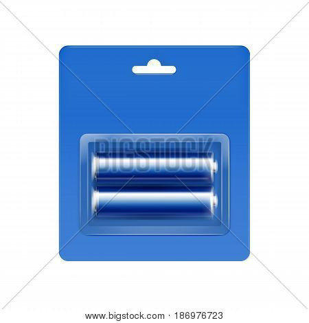 Vector Cyan Blue Glossy Alkaline AA Batteries in Cyan Blue Blister Packed for branding Close up Isolated on White Background