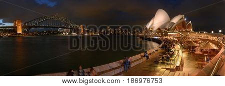 SYDNEY AUSTRALIA - May 18 2017 Panorama's sunset of Sydney Opera House and harbour bridged Sydney Australia Over 10 millions tourists visit Sydney every year.