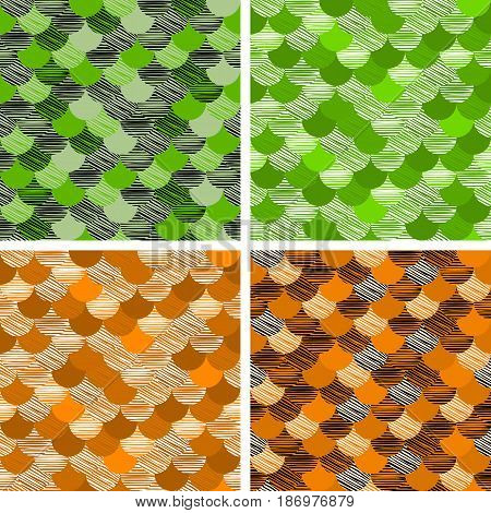 Abstract Colorfull Wave Seamless Pattern. The Fabric. Scales Vector Green, Orange