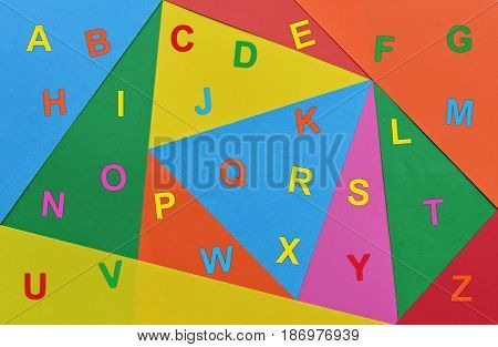 Letters of English alphabet written in various colors