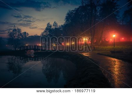 City Park Reflections at Night. Scenic Park After Stormy Day. Skawina Lesser Poland.