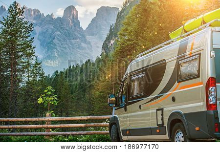 Class B Motorhome Trip in European Alps. Scenic Mountain Camping in the Camper.