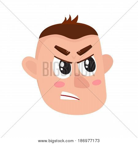 Young man face, angry facial expression, cartoon vector illustrations isolated on white background. Angry face expression