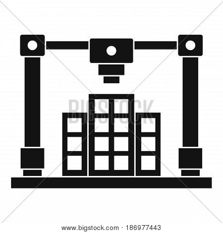 3d printer printing layout of building icon in simple style isolated vector illustration