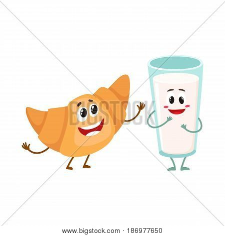 Funny smiling glass of milk and croissant characters, perfect beakfast combination, cartoon vector illustration isolated on white background. Cute, funny milk glass and croissant, roll bun characters