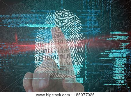 Digital composite of fingerprint scan with binary code and red flare. finger on back