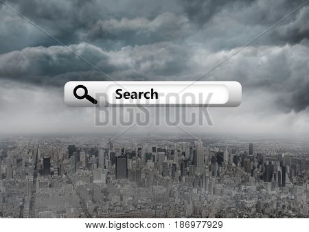 Digital composite of Search Bar with city background