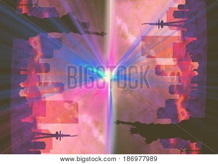 Digital composite of up side down city. NY with flares. Pink