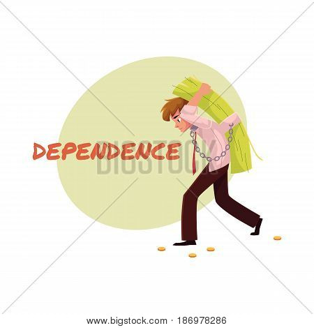 Financial dependence poster, banner template with man carrying bundle of money on his back, cartoon vector illustration. Man carrying heavy bundle of money, financial burden, dependence banner, poster