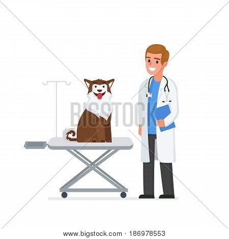 Veterinarian man in office. Veterinary clinic vector concept illustration.