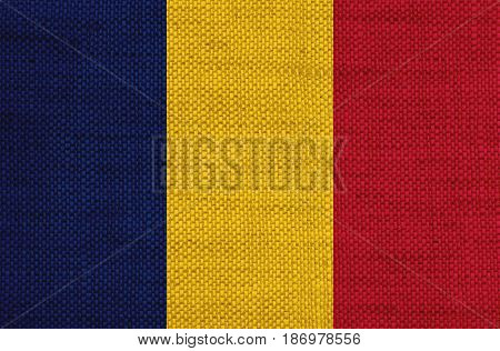 Flag Of Chad On Old Linen