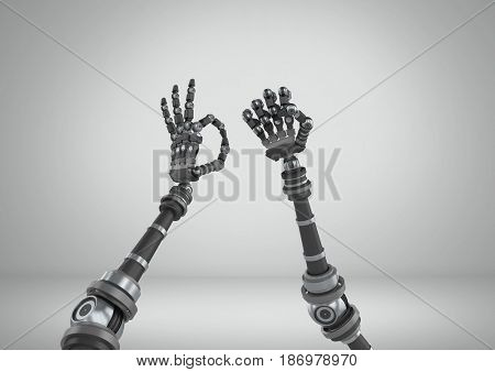 3D Digital composite of Robot hands stretching wonky with grey background