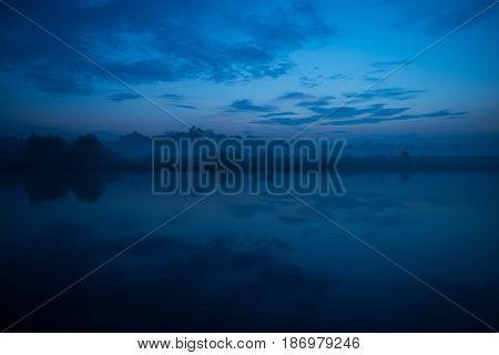 Foggy River Reflections Dusk Landscape. Scenic Lesser Poland Landscape.