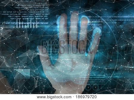 Digital composite of woman putting her hand on hand scan. Blue and with connections