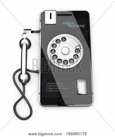3D Illustration Of Public Telephone, Isolated White Background