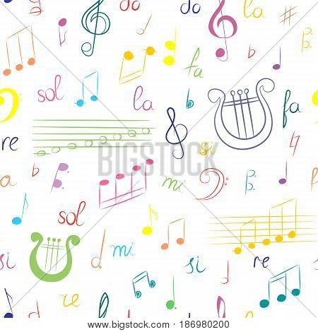 Seamless Pattern of Hand Drawn Set of Music Symbols. Colorful Doodle Treble Clef Bass Clef Notes and Lyre. Sketch Style. Vector Illustration.