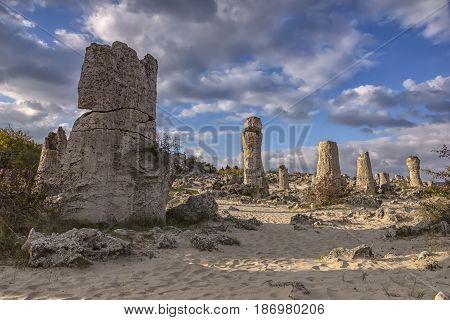 Pobiti Kamani - natural rock formations in Varna Province Bulgaria .
