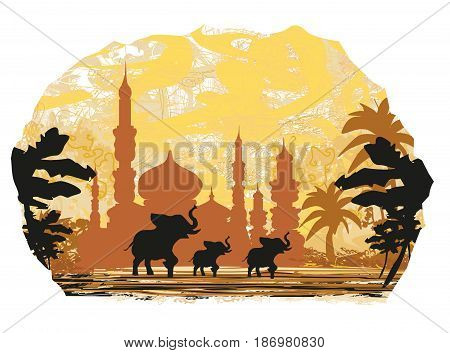 India backgroundelephant building and palm trees , vector illustration