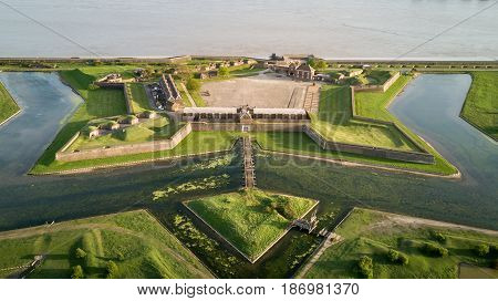 LONDON UK - 11 APRIL 2017: Aerial drone photo of the historic Tilbury Fort an artillery fort on the north bank of the River Thames.