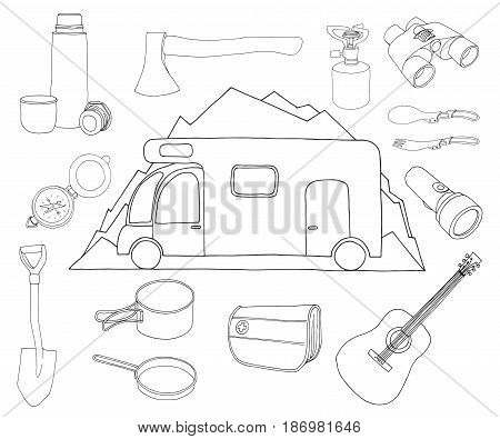 Tourism and camping set. Camper on a background of mountains. Emblem logo car camping. Hand drawn vector illustration of a sketch style.