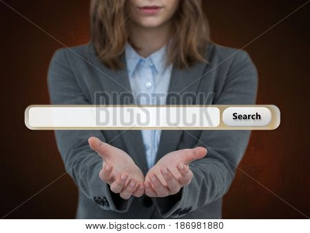Digital composite of Woman with open hands and Search Bar with brown background