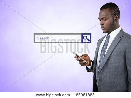Digital composite of Search Bar with man on phone