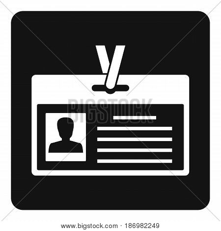Identification card icon in simple style isolated vector illustration