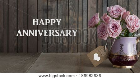 Happy Anniversary Greeting Card With Blooming Roses Bouquet