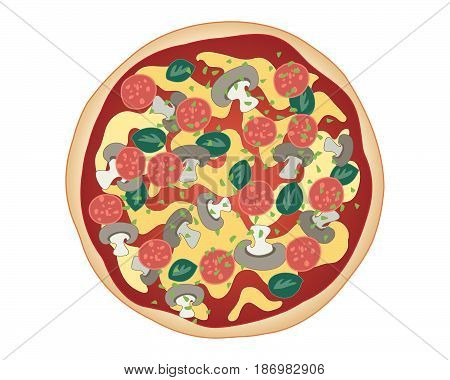 an illustration of classic mushroom pizza with bread base tomato sauce cheese and pepperoni sprinkled with herbs