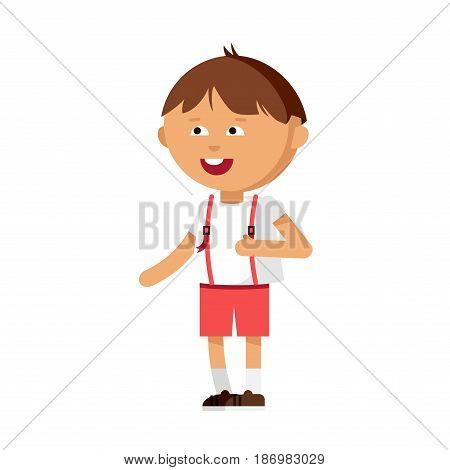 Cute boy have fun. Male kid character illustration. Child in motion. Cheerful kinder. Detailed personage isolated in white background.
