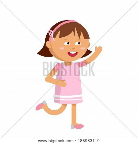 Cute girl have fun. Female kid character illustration. Child in motion. Cheerful girl jumped. Detailed personage isolated in white background.