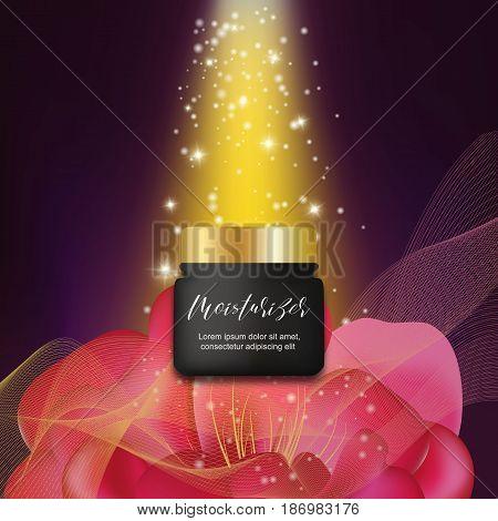 Luxury black face cream bottle, peony flower, stardust, elegant cosmetics concept. Realistic cream bottle, sparkling background. Moisturizer advertising background.