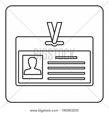Identification card icon in outline style isolated vector illustration