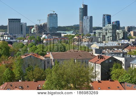VILNIUS - MAY 16: Panorama of Vilnius on May 16 2017 in Vilnius Lithuania. Vilnius is the capital of Lithuania and its largest city.