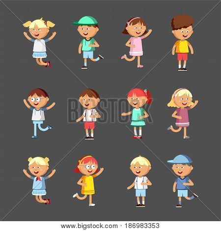 Collection of happy children. Vector set illustration of cute kids. Boys and girl character in different positions. Group of preschool children.
