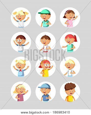 Vector illustration set of different avatars of boys and girls on a on a square flat. Set avatars children. Cute flat avatars portraits kids.