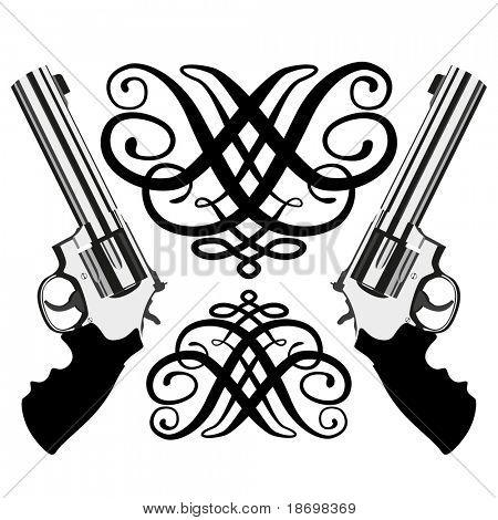 Vector revolver magnum on white background (illustration)