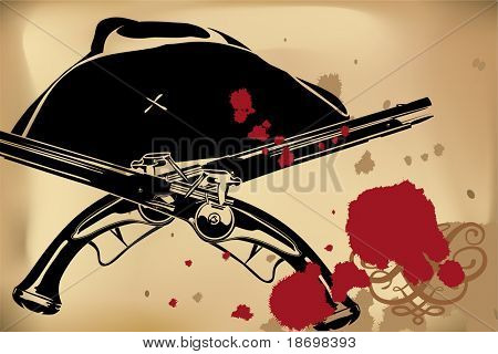 Vector Pirate still-life on brown background (hat and blunderbuss)