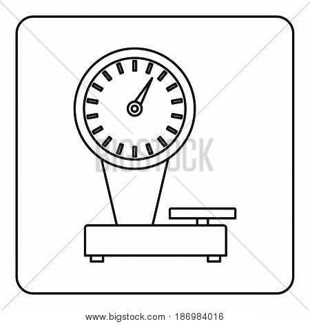 Weight scale icon in outline style isolated vector illustration