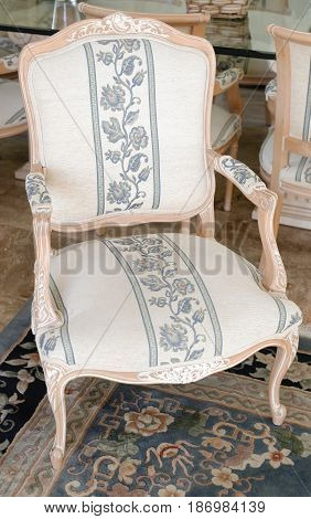 Antique Chair made of wood and cloth