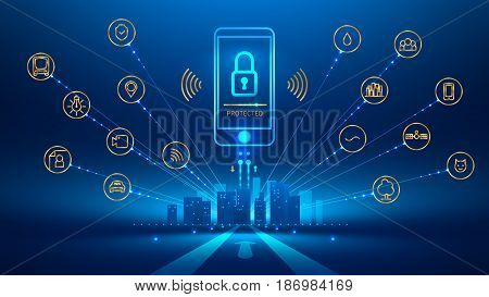 smart phone connection with a smart city. the icon lock on the mobile phone screen. Mobile security secure wireless connection. The connection is protected. Future concept. Vector illustration.