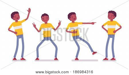 Set of black or african american young man wearing bright t-shirt standing, belly laughing, mocking, akimbo pose, positive emotions, vector flat style cartoon illustration, isolated, white background