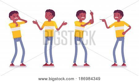 Set of black or african american young man wearing t-shirt standing, troubled, puzzled, facepalm, aggressive, negative emotions, vector flat style cartoon illustration, isolated, white background