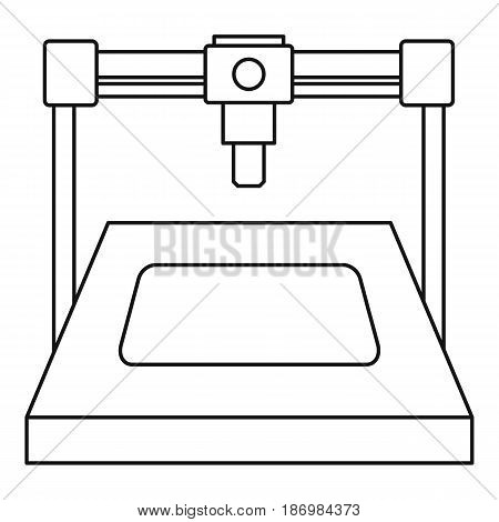 3D printer icon in outline style isolated vector illustration