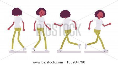 Set of black or african american young woman, black curly hairstyle, in running and walking pose, front, rear view, vector flat style cartoon illustration, isolated, white background